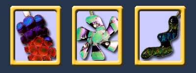 red dichroic glass pendants, blue dichrotic fused glass, green fused glass pendants, fused glass pendant
